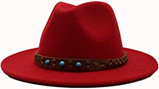 SAIPULIN-AU 2019 Men's and Women's Autumn and Winter Fedora Hat Couple Dating Outdoor Humboldt Travel Woolen Hat Wide Side Jazz Cap. (Color : Red, Size : 56-58)