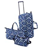 Trendy Duffel Bag, Tote and Toiletry Bag Luggage Set - Blue Floral - 3 Pieces