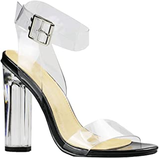 Women's Transparent Sandal Ankle Cross Strap Adjustable Buckle Perspex Block Chunky Heel Sexy Shoes