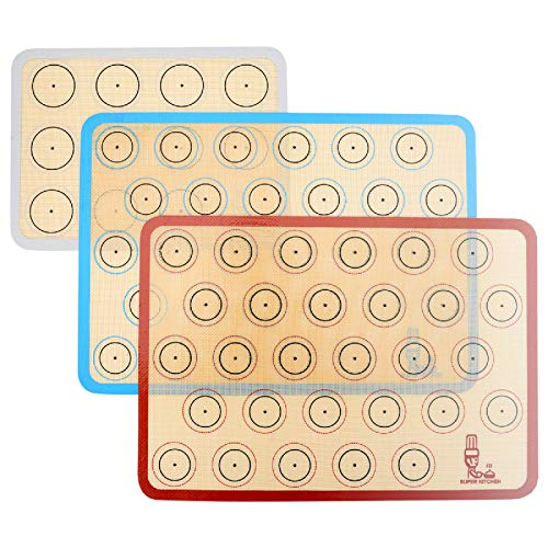 Silicone Baking Mat Macaron - Set of 3 (2 Half Sheet Liners and 1 Quarter Sheet), Non Stick Silicon Cookie Oven Liner For Macaroons, Bake Pans, Pizza, Toaster, Cake and Bread Making (Red,Blue,Gray)