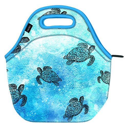 WIRESTER Neoprene Lunch Bag for Work, Picnics, Camping and School - Ocean Sea Turtle