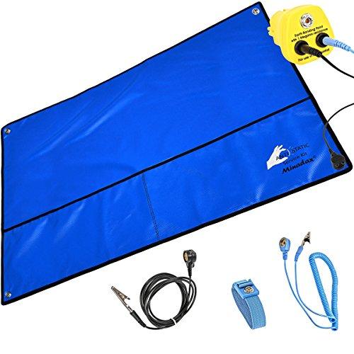 Minadax® XXL 60 x 80cm Antistatik ESD Matte in blau inkl. Handschlaufe + Erdungstecker + Verlängerung