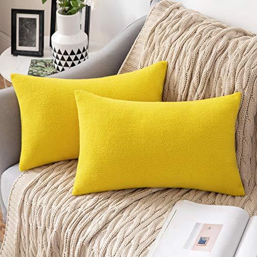 MIULEE 2 Unidades Fundas de cojín para sofá Almohada Caso de Diseño Compuesto de Polar Fleece Cómodo Decoración para Habitacion Juvenil Sofá Comedor Cama Dormitorio Oficina 30 x 50cm Limon Amarillo