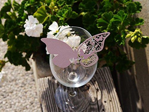 50pz farfalle Segnaposto Segnabicchiere VARI COLORI bomboniera matrimonio segnatavolo CARTA PERLATA (LILLA)