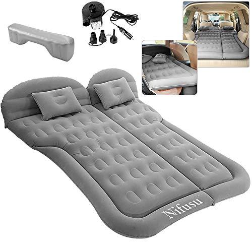 Nifusu SUV Luftmatratze Campingbetten, aufblasbares Auto Reisebett Rücksitz mit zwei Kissen und elektrischer Luftpumpe, doppelseitige tragbare Schlafunterlage für Zuhause Outdoor Reisen