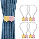 4 Pack Magnetic Curtain Tiebacks Decorative Window Curtain Holdback Rope Convenient Curtains Tie Backs Super-Strong Magnet Curtain Holder Clips Home Office Decor (Gold & Pink)