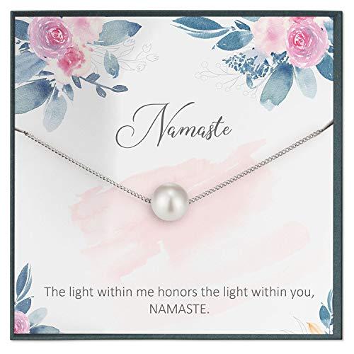 Collar con colgante de la Grace of Pearl Namaste, joyería de yoga, joyería Zen, regalo espiritual, apoyo espiritual, hindúismo, meditación collar, ayuda a relajarse