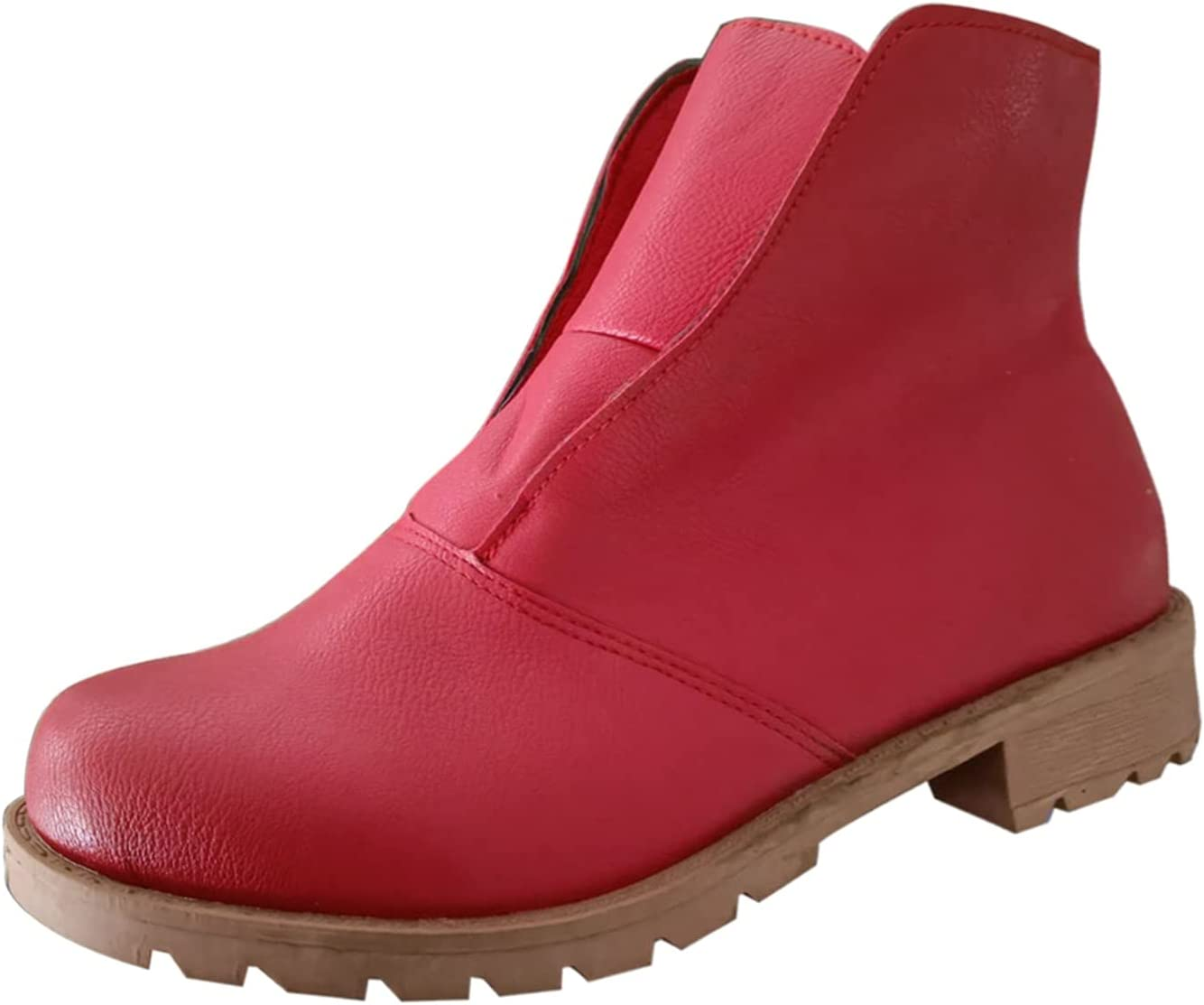 Women's Ankle Booties Fashion Mid Calf Boots Casual High Boots Chunky Thick Low Heels Retro Combat Boots Short Boots Autumn Winter Cowboy Boots Comfortable Shoes Sneakers (Red, 9)