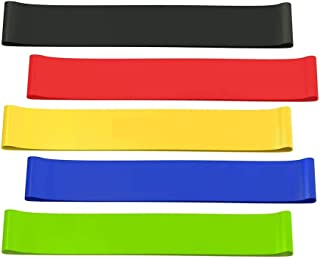 5 Pcs Resistance Loop Bands, Resistance Exercise Bands for Stretching, Strength Training, Physical Therapy, Natural Latex ...