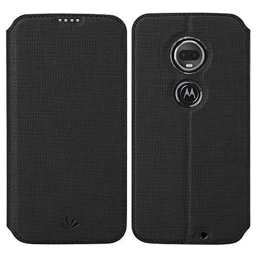 Moto G7 Case, Moto G7 Plus Case, Foluu Flip Folio Wallet Case Slim Premium PU Leather Case ID Credit Card Slots Kickstand Magnetic Closure Clear TPU Bumper Cover Compatible Moto G7/G7 Plus (Black)