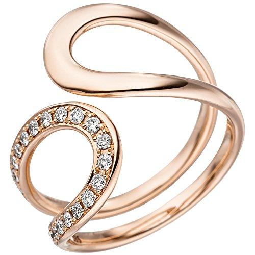 JOBO Damen Ring 585 Gold Rotgold 21 Diamanten Brillanten Rotgoldring Diamantring Größe 56