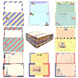 HOSTK 96 Juego de papel de cartas con sobre, 64 lindos y bonitos diseños especiales de papel de carta para escribir + 32 sobres estilo vintage azul marino (8 estilos)