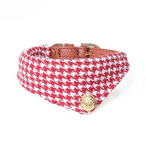 MEH Shops Halsband mit Halstuch/Bandana - Rot Kariert & Elegant - Verstellbar - Für Kleine Hunde, Welpen, Katzen und andere Haustiere