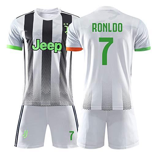 Kinder Fußball Trikot Weiß Anzug-7# Ronaldo Professionelle Technische Kleidung Fans Anzug Unisex Training Uniform Mesh Schnelltrocknende Kurzarm Fans Sweatshirt-D-XS(150.160CM)