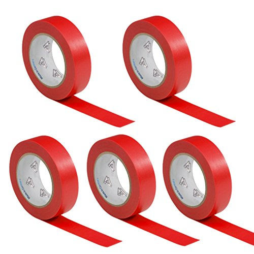 AUPROTEC 5 Rollen VDE Isolierband Isoband Elektriker Klebeband PVC 15mm x 10m DIN EN 60454-3-1 Farbe: rot