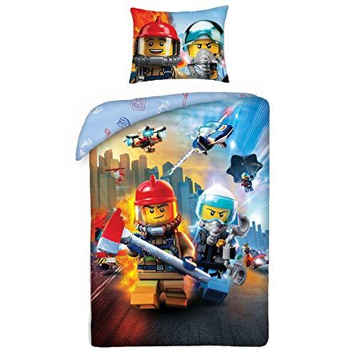 LEGO City Bettwäsche Set Baumwolle Feuerwehrleute und Polizisten 140x200 cm
