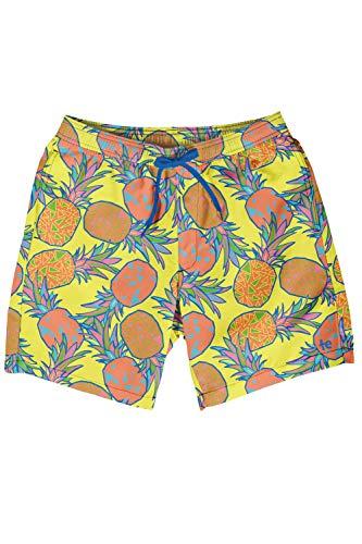 Tipsy Elves Men's Short Swim Trunks - Bright Neon Board Shorts for Vacation (Pina Colada, Small)