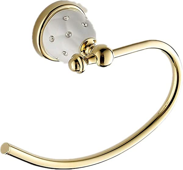 AUSWIND Antique Gold Polished Solid Brass Towel Ring With Ceramic Star Diamond Base Wall Mounted Bathroom Accessories Sets L3 Open Towel Ring