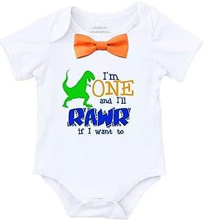 Dinosaur First Birthday Shirt Outfit Boy One Rawr Orange Bow Tie