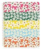 Ban.do Cuaderno de espiral con diseño floral, 22,8 x 17,8 cm, con bolsillos y 160 páginas a rayas, margaritas