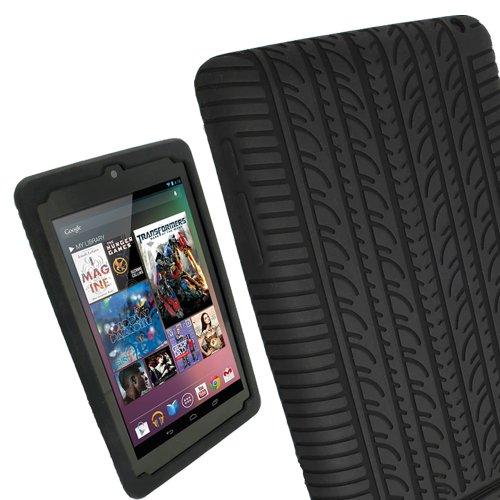 igadgitz Nero Pneumatico Custodia Silicone Skin Case Cover Protezione per Google Nexus 7 1� generazione Android 4.1 Tablet 8GB 16GB' + Protettore Schermo (NON adatto per la 2� generazione uscito Agosto 2013)