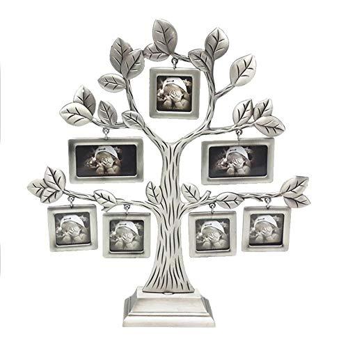Hangarone - Marco de fotos para árbol familiar, marco de fotos con forma de árbol de felicidad, marco de metal con 7 marcos de fotos para colgar