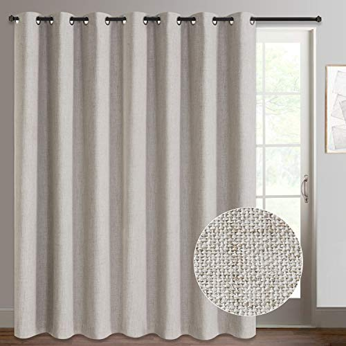 Rose Home Fashion Sliding Door Curtains, Primitive Linen Look 100% Blackout Curtains, Thermal Insulated Patio Door Curtains-1 Panel (100x96 Beige)