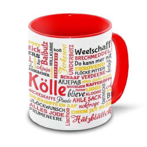 Köln-Tasse Tagcloud - weiß/rot - Tasse mit typischen Wörtern im Kölner Dialekt