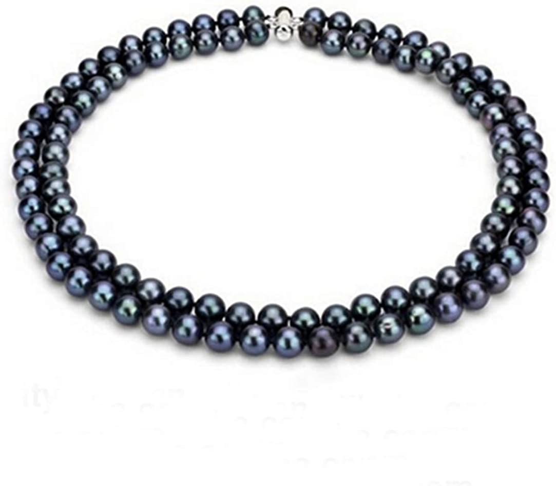 TreasureBay Handcrafted Two Strands 7mm Natural Fresh Water Pearl Necklace(Black)