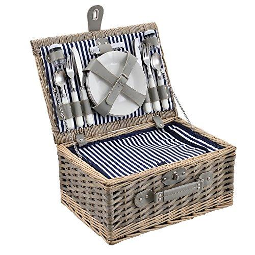 casa.pro Picknickkorb für 4 Personen Picknick-Set mit Kühltasche inkl. Geschirr Besteck Korkenzieher und Gläser Blau-Weiß