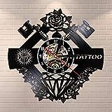 UIOLK Estudio de Tatuajes Logo Tatuaje silencioso Disco de Vinilo Pared Kraco Tienda de Tatuajes máquina de Tatuaje decoración de Pared Hipster Hombre Regalo