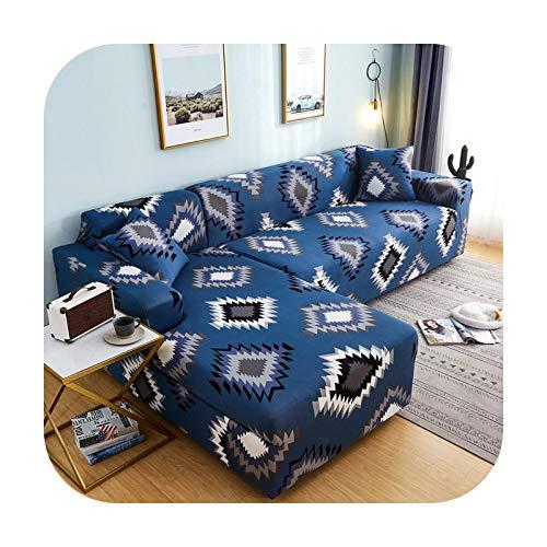 Sofa covers Please Order - Funda para sofá de 2 piezas, diseño geométrico en forma de L, color 19-1 (90-140 cm)