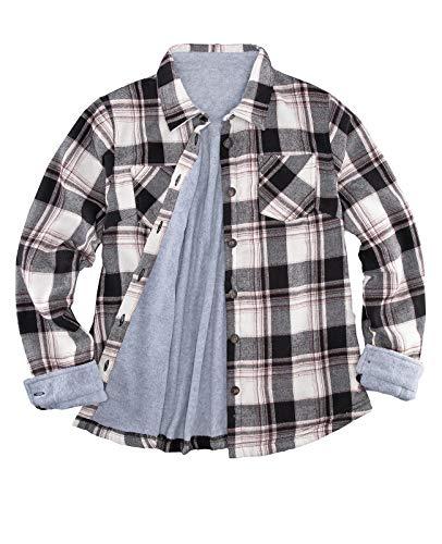 Women's Fleece Lined Flannel Shirt Jacket,Button Down Plaid Flannel Shirts Black/White/Burgundy XS