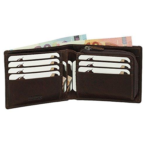 Leder Geldbörse Portemonnaie Geldbeutel Münzfach mit Reißverschluss 12 cm Farbe braun