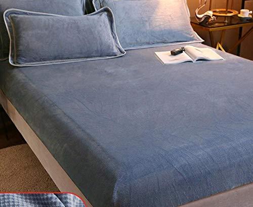 Protector de colchón Acolchado,Sábana ajustable de franela,con sábana de cama cálida de vellón de coral elástico,para manta de invierno con banda elástica,sábanas tamaño Queen/King-L_150x200cm+30cm