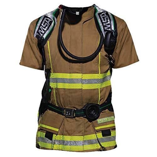 DNOQN Herren 3D Feuerwehrmann-Stil Beiläufig Drucken O-Ausschnitt Kurzarm Bluse Top T-Shirt