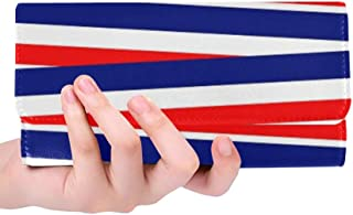 Unique Custom Red White Blue Patriotic Ribbons Bands Stripes Women Trifold Wallet Long Purse Credit Card Holder Case Handbag
