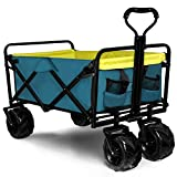 Knowlife Folding Collapsible Wagon Outdoor Camping Garden Cart with Cargo Net,...