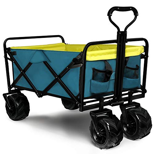 Knowlife Folding Collapsible Wagon Outdoor Camping Garden Cart with Cargo Net, Retractable Handle...