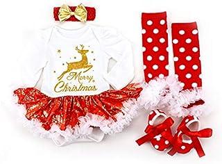 Conjunto de 3 Piezas de Disfraz de Papá Noel con Renos para niñas de 0 a 24 Meses