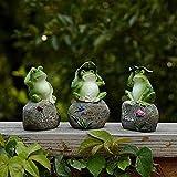 Estatuas de jardín de 3 Ranas Ranas sentadas en esculturas de Piedra Decoración al Aire Libre Adornos de jardín de Hadas Figuras de Rana de Resina para jardín de Oficina