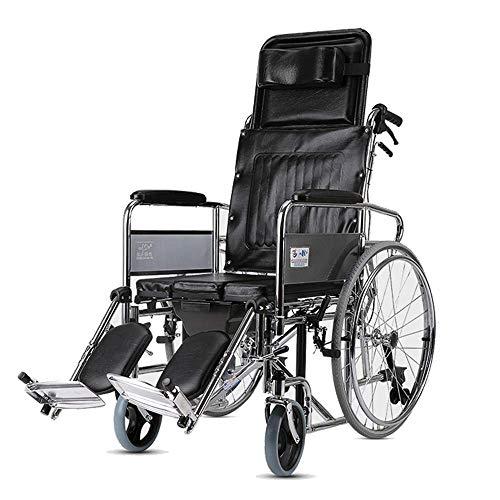 SISHUINIANHUA Respaldo Alto para Silla de Ruedas con Inodoro, Silla de Ruedas Plegable, portátil y autopropulsada, Completamente reclinable
