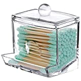 Tbestmax 7 OZ Cotton Swab Pads Holder, Qtip Cotton Buds Ball Dispenser, Bathroom Containers Clear Apothecary Jar for Storage 1 Pcs