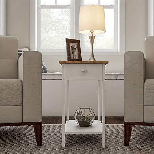 Lavish Home Side Drawer-Narrow End Table with Storage Shelf, White