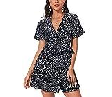 Enmain Vestido para Mujer Corto Estampado Floral Negro Casual Verano Playa Vestido Chic Mini Magas Cortas Cuello en V Vestidos Fiesta M