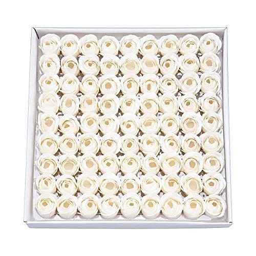 Jabón de aceites esenciales perfumados con olor a rosa con diseño en forma de flor, 81 piezas sin conservantes, cumpleaños, boda, día de San Valentín, día de la madre