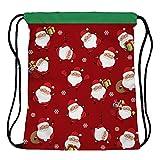 Yokata Turnbeutel Sporttasche Sportbeutel Rucksack Gym Sack für Mädchen, Damen, Teenager, Kinder, Herren mit Weihnachten Muster - Weihnachtsmann