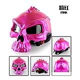 WangWDN Open-Face Half Skull Helm, Sommer Motorradhelm Helm eingebaute UV-Brille abnehmbare Maske...