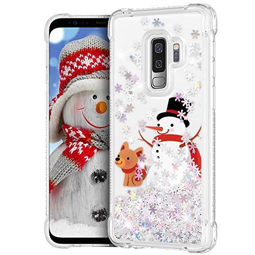 Ruky Christmas Case for Galaxy S9 Plus, Glitter Liquid Flowing Bling Fashion Merry Christmas Design Cute Soft TPU Shockproof Girls Women Children Christmas Case for Samsung Galaxy S9 Plus, Snowman&Dog