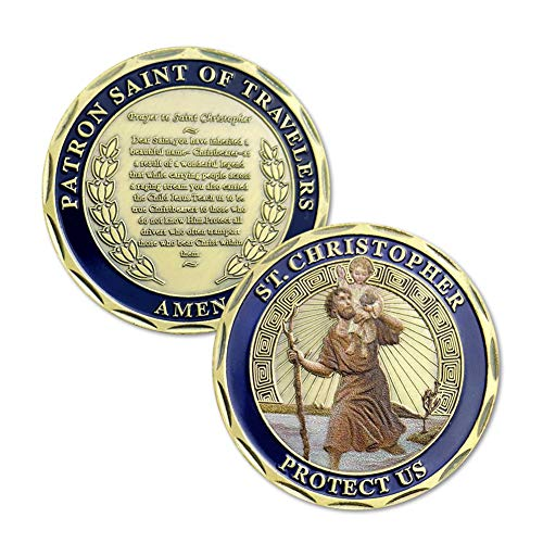 Patron Saint of Travelers Prayer Commemorative Coin St Christopher Challenge Coin